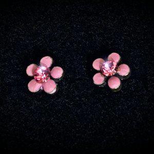 Sweet Petite Pink Flower Earrings